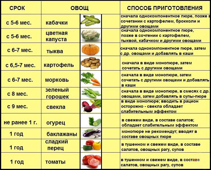 Таблиця введення різних овочів по місяцях