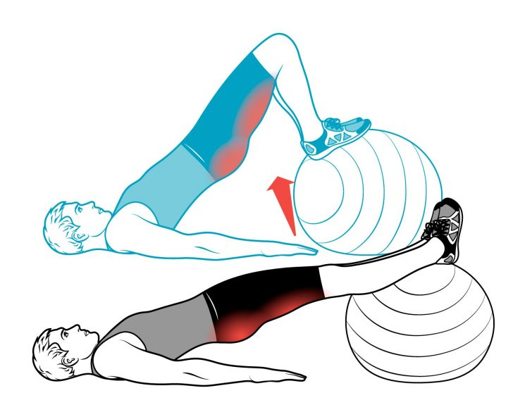 Підйом тазу на фитболе зміцнює м'язи тазового дна